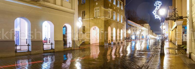 Vista de la calle noche Lituania panorama calle largo Foto stock © kyolshin