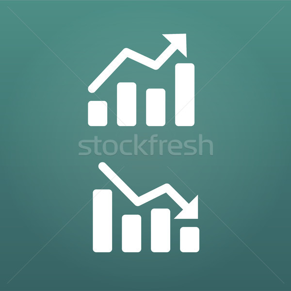 White up and down Graph Icon in trendy flat style isolated on modern background. Chart symbol for yo Stock photo © kyryloff