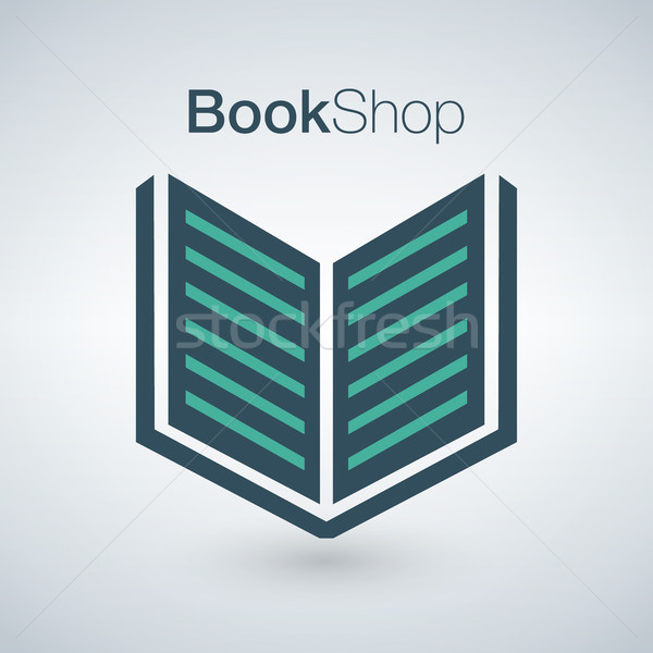 Book shop logo isolated on modern background. Can be used for bookshop, store, market, sale etc. Vec Stock photo © kyryloff