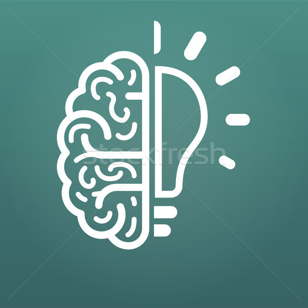brain and lightbulb, big idea icon. Vector illustration isolated on modern background. Stock photo © kyryloff