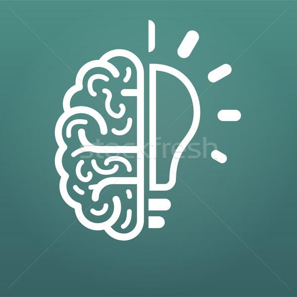 Сток-фото: мозг · лампочка · большой · Идея · икона · изолированный