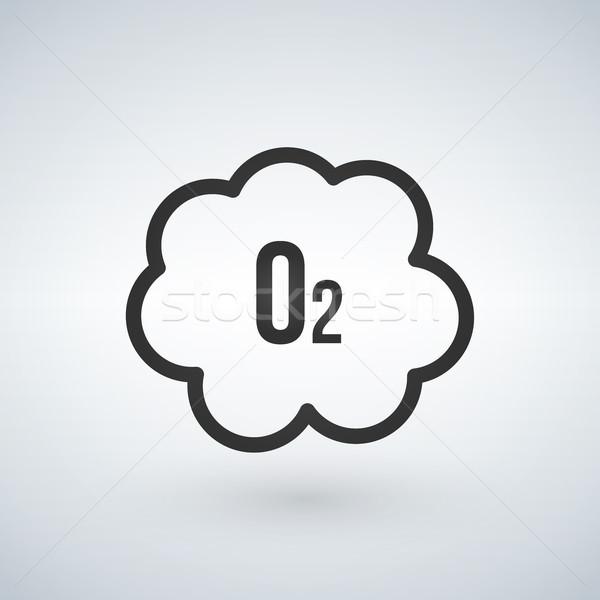 Fekete felhő oxigén ikon izolált fehér Stock fotó © kyryloff