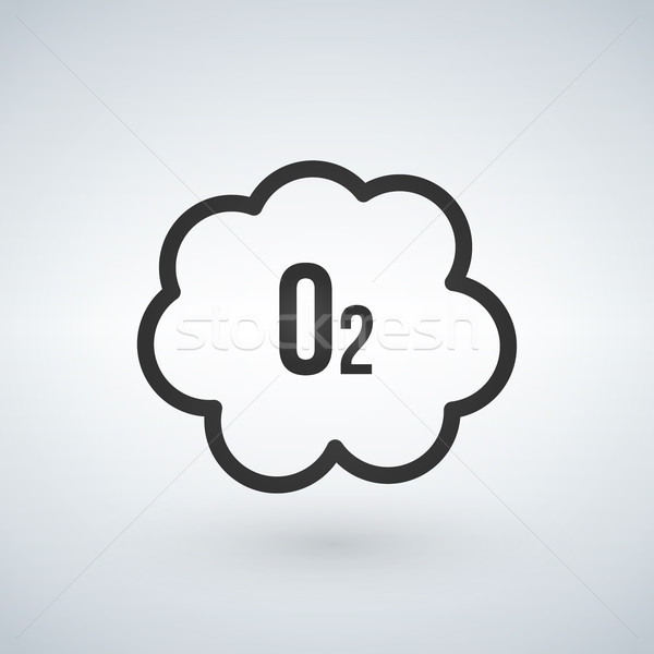 Black o2 cloud oxygen icon, vector illustration isolated on white background. Stock photo © kyryloff