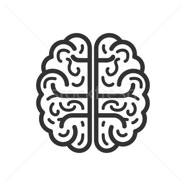 Mózgu ikona odizolowany biały proste zdrowia Zdjęcia stock © kyryloff