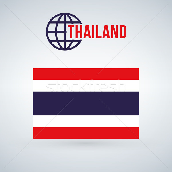 Thailand Flag vector illustration isolated on modern background with shadow. Stock photo © kyryloff