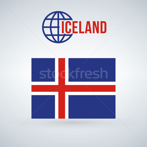 Flag of the Iceland. vector illustration isolated on modern background with shadow. Stock photo © kyryloff