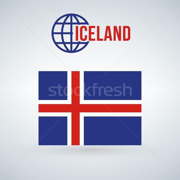 Сток-фото: флаг · Исландия · изолированный · современных · тень · кадр