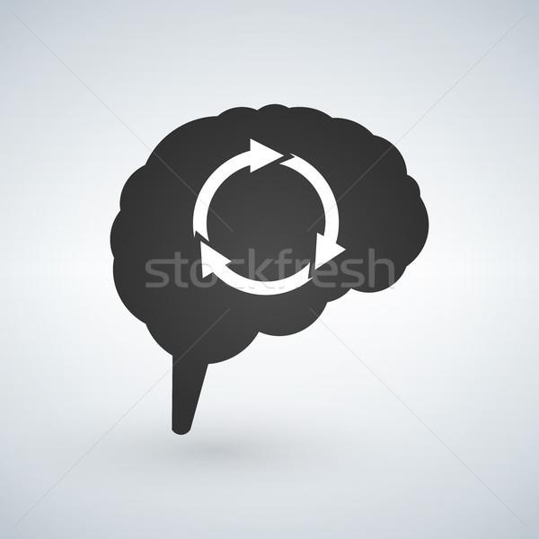 Cervello abstract frecce isolato bianco business Foto d'archivio © kyryloff