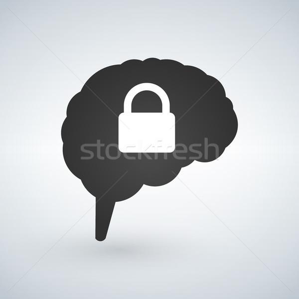 Mózgu blokady bezpieczeństwa projektowanie logo odizolowany biały Zdjęcia stock © kyryloff