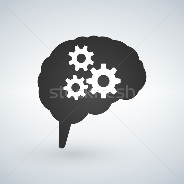 Business concept vector illustration of a brain with cogs or gears, thinking process concept. Vector Stock photo © kyryloff
