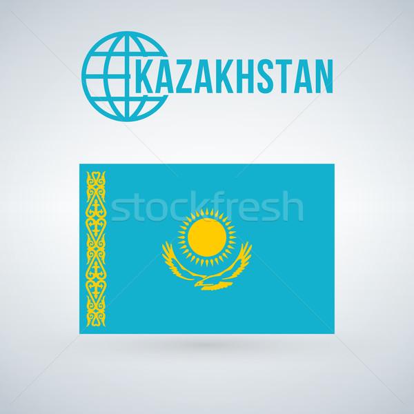 Bandeira Cazaquistão isolado moderno sombra arte Foto stock © kyryloff