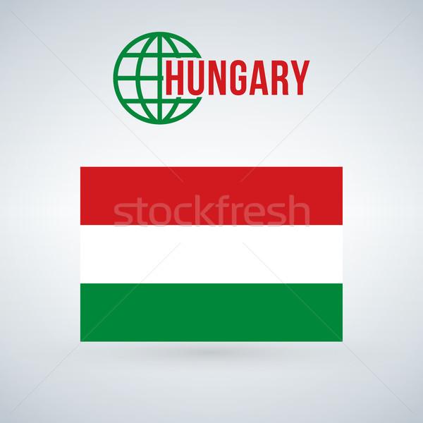 Сток-фото: Венгрия · флаг · изолированный · современных · тень · дизайна