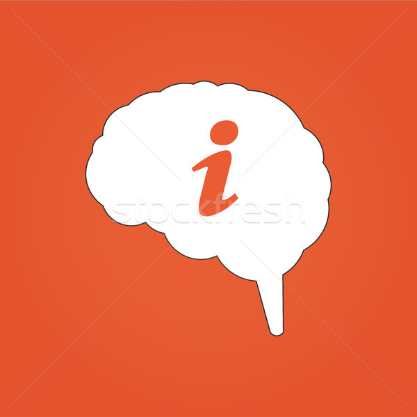 Vector illustration of brain with info icon. Can be used for web design, apps. Isolated on orange mo Stock photo © kyryloff