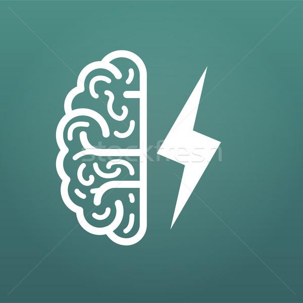Mózgu pioruna duży pomysł ikona odizolowany Zdjęcia stock © kyryloff