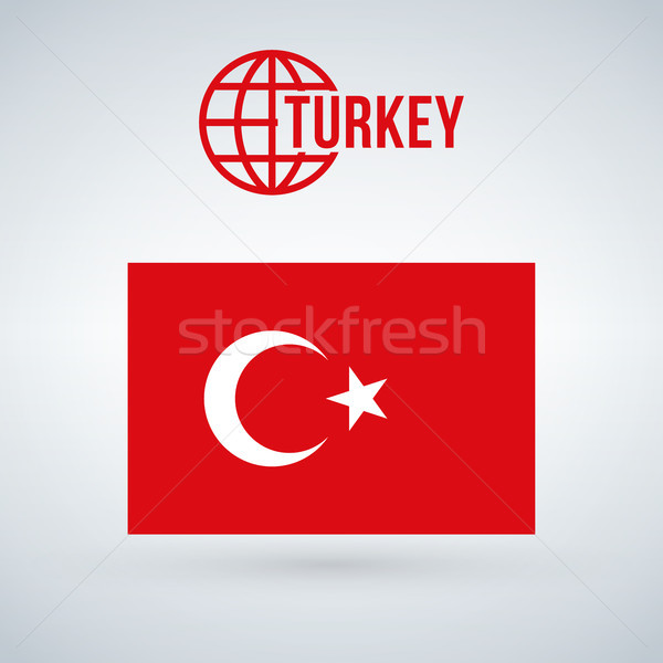 turkey flag vector illustration isolated on modern background with shadow. Stock photo © kyryloff