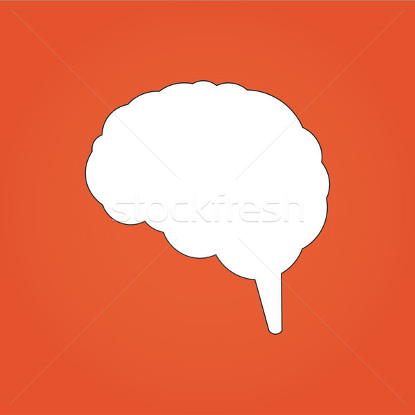 Vector illustration of brain icon. Can be used for web design, apps. Isolated on orange modern backg Stock photo © kyryloff