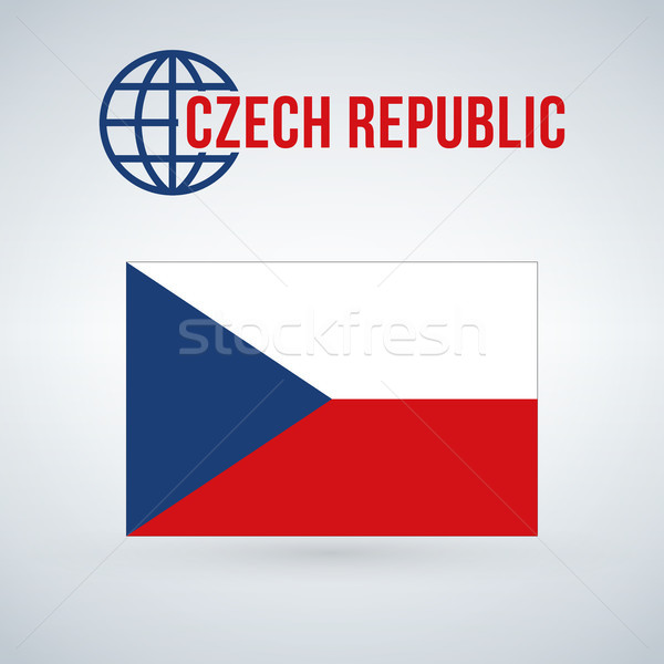 Flag of the Czech Republic. vector illustration isolated on modern background with shadow. Stock photo © kyryloff