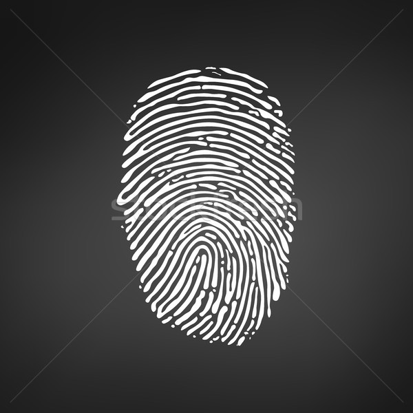 White Fingerprint icon on modern black background. Vector illustration. Stock photo © kyryloff