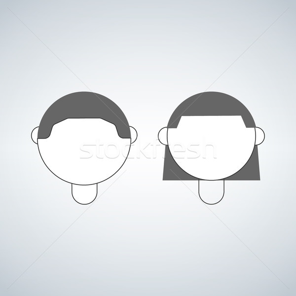 boy and girl head, vector icon isolated on white background. Stock photo © kyryloff