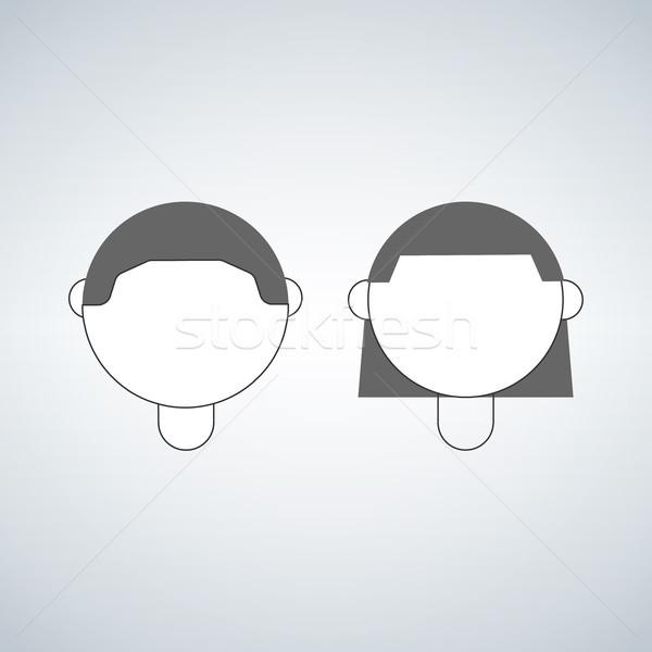Сток-фото: мальчика · девушки · голову · вектора · икона · изолированный