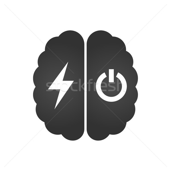 Brain with lightning or charging and turn off icon , simple vector illustration isolated on white ba Stock photo © kyryloff