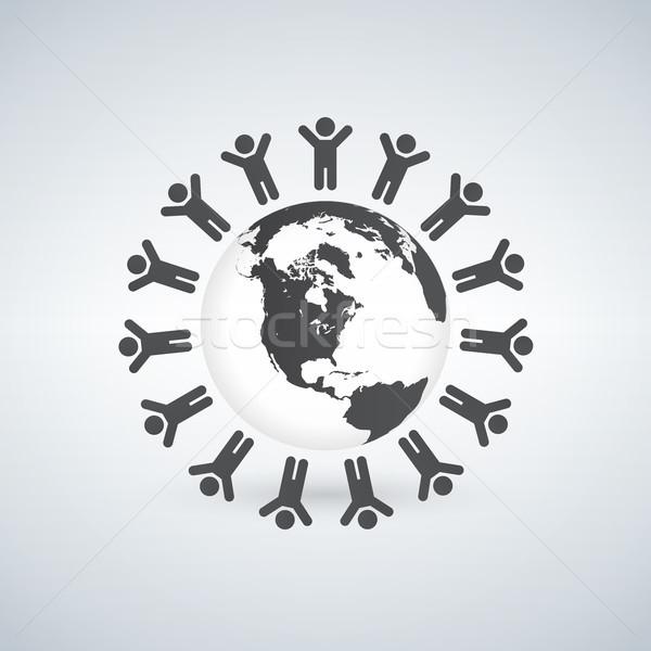 Terra bambini anello in giro simbolo isolato Foto d'archivio © kyryloff