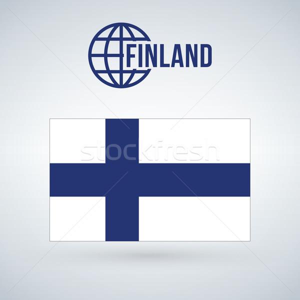 Сток-фото: Финляндия · флаг · изолированный · современных · тень · синий