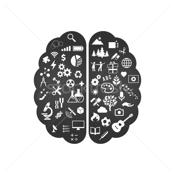 Black and white Abstract human brain with the icons of art and science. The concept of work left and Stock photo © kyryloff