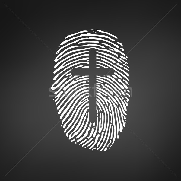Thumb Prints or fingerprint with cross showing christian identity. vector illustration isolated on b Stock photo © kyryloff