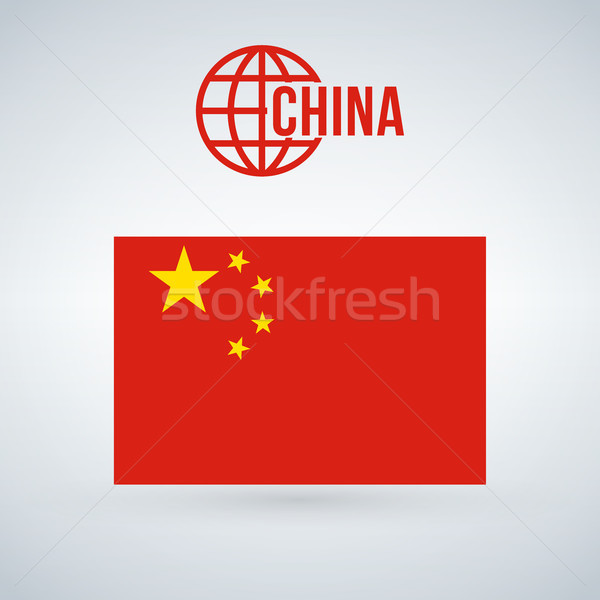 Сток-фото: Китай · флаг · изолированный · современных · тень · фон