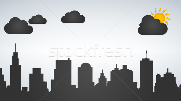 Silhouette of the city day time. Vector illustration isolated on white background. Stock photo © kyryloff