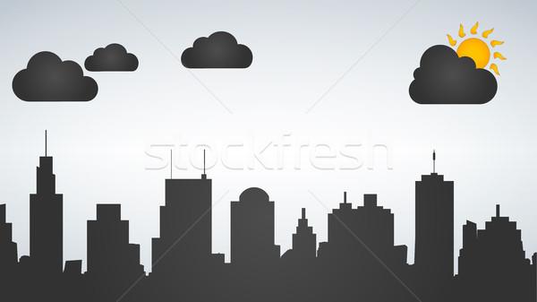 Silhouette città giorno tempo isolato bianco Foto d'archivio © kyryloff
