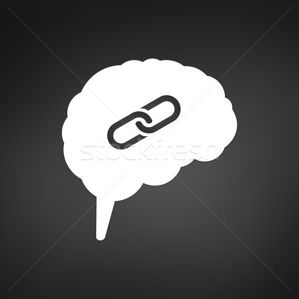 intelligence brain with connection or link icon. vector illustration isolated on black modern backgr Stock photo © kyryloff