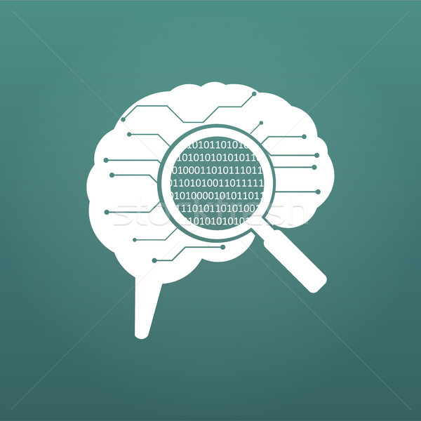 circuit board human brain. Concept illustration of cpu in the center of computer system. Matrix in m Stock photo © kyryloff