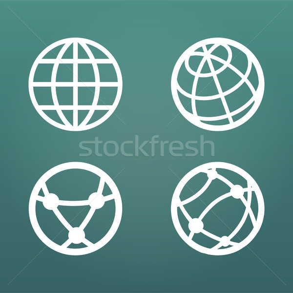 White linear globe icons set for web apps ui. Vector illustration isolated on modern background. Stock photo © kyryloff