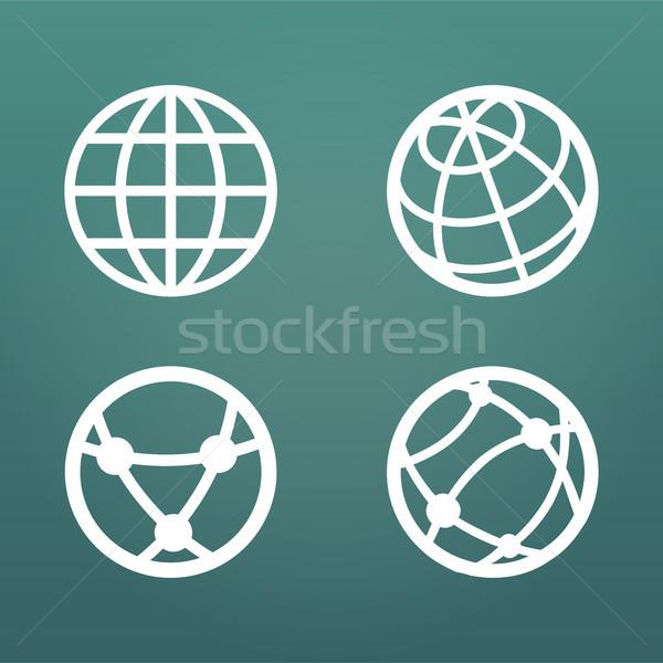 Beyaz doğrusal dünya web uygulamaları Stok fotoğraf © kyryloff