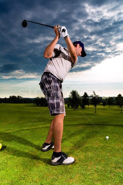 Jovem jogador de golfe golfe balançar homem esportes Foto stock © Kzenon