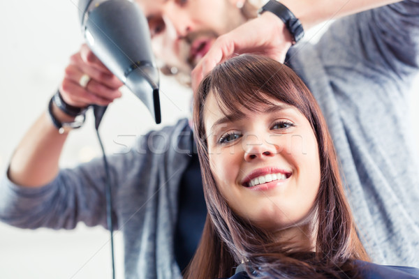 Friseur Schlag trocken Frau Haar Laden Stock foto © Kzenon