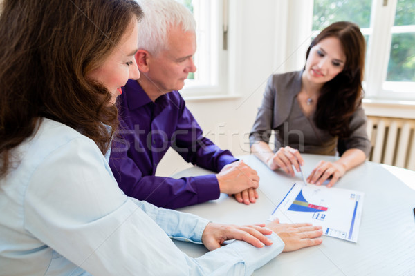 Senior woman and man at retirement financial planning Stock photo © Kzenon