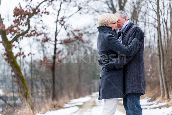 Senior woman and man embracing each other in winter Stock photo © Kzenon