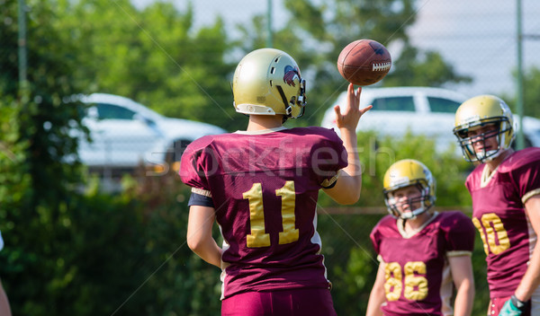 Pass at American Football game on field Stock photo © Kzenon