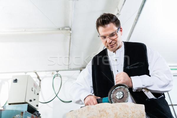 мастер на все руки рабочих мрамор каменные диска Сток-фото © Kzenon