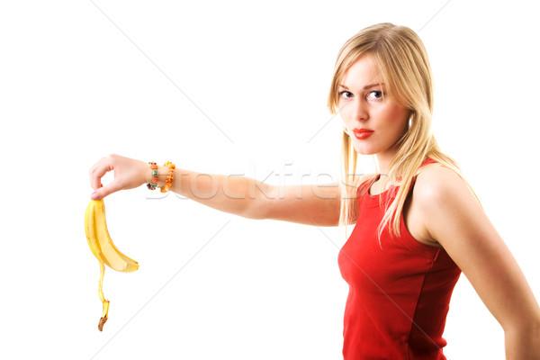 Lány cseppek banán héj nő bőr Stock fotó © Kzenon