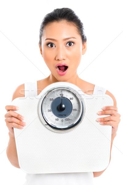 Asya kadın ağırlık ölçek genç Stok fotoğraf © Kzenon