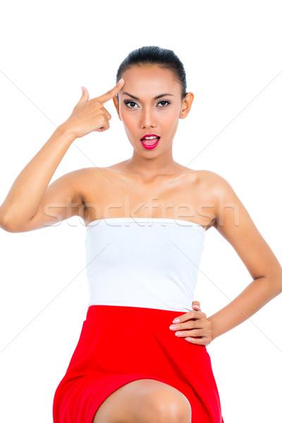 Foto stock: Asiático · mulher · idiota · assinar · jovem