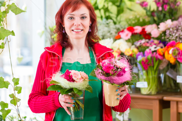 Stock photo: Florist working in flower shop