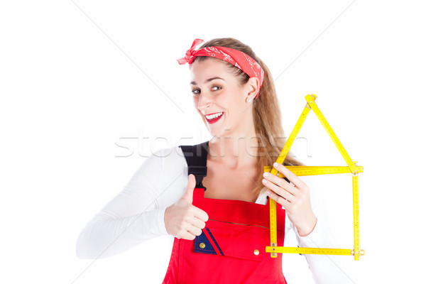 Woman having fun at home improvement  Stock photo © Kzenon