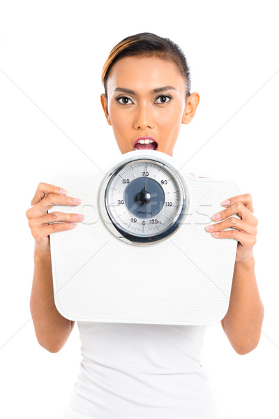 Asian woman with weight scale loosing weight Stock photo © Kzenon