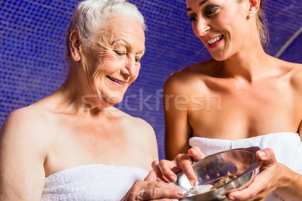 Woman at Rasul bath in wellness spa Stock photo © Kzenon