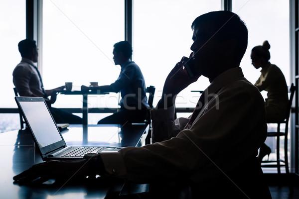 Trabalhando situação café falante negócio Foto stock © Kzenon